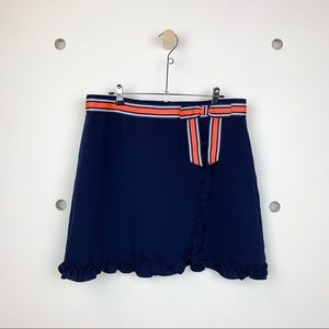Ted Baker London navy ruffle mini skirt with bow